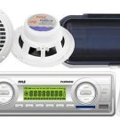 New Marine Boat MP3 USB SD AUX Radio Player,2 6.5 white Speakers,Cover