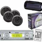 Enrock In Dash Marine Boat MP3 USB SD Stereo Media W-Remote 4 Speakers & Cover