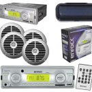 New AM-FM MP3 Marine Boat Receiver USB AUX Input w-Cover & 6.5 Silver Speakers
