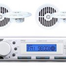 New White Marine Boat Yacht In Dash MP3 Radio Stereo System & 4 Speakers