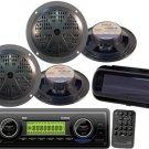 200Watt PLMR87WB In Dash Marine Boat USB MP3 Receiver WB Radio 4 Speakers Cover