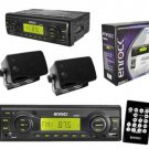 New In Dash Boat Marine MP3 USB SD Media Receiver w 2 Black Box Speakers System