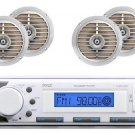 Pyle White Color Marine Boat In Dash MP3 AUX USB Stereo Player 4 Silver Speakers