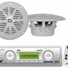 PLMR88W New Marine Boat USB SD AUX Radio Stereo With Pair of White Speakers