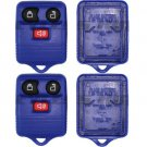 2 New Blue Replacement Keyless Remote Key Fob Case Rubber Pad Housing Shell