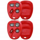 2x Red Replacement Keyless Remote Key Fob Clicker Shell Case Button Pad Repair