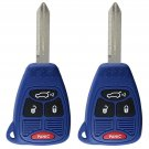 2 New Blue Uncut Remote Head Key Keyless Entry Combo Transmitter Fob Hatch Gate