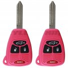 2 New Pink Uncut Remote Head Key Keyless Entry Combo Transmitter Fob Hatch Gate