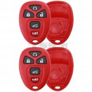 2 New Red Replacement Keyless Entry Remote Case Pad Housing Shell Car Key Fob