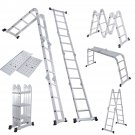 Folding Ladder 12.5FT EN131 Aluminum Folding Step Extension Multifunction New