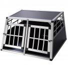 Goplus 2-Door Aluminum Transport Box Dog Crate Kennel Pet Playpen Cage w/Divider