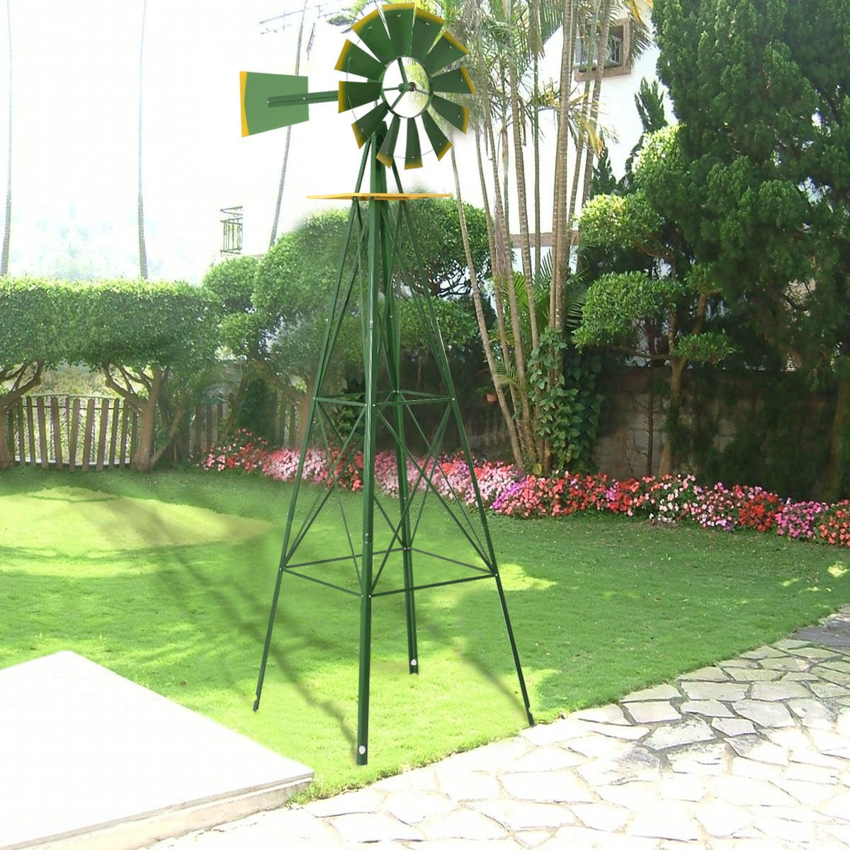 8Ft Tall Windmill Ornamental Wind Wheel Green And Yellow Garden