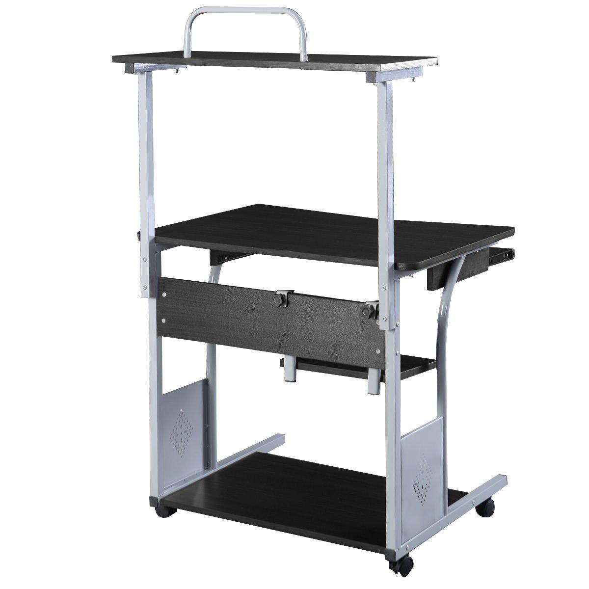 puter Desk w Printer Shelf Stand Rolling Laptop Home