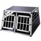 Goplus Large 2-Door Aluminum Box Dog Crate Kennel Pet Playpen Cage w/Divider