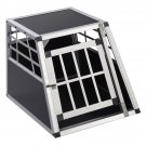 Goplus Aluminum Dog Transport Box Dog Crate Kennel Pet Playpen Cage w/Lock 28''H