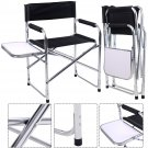 Aluminum Folding Director's Chair with Side Table Camping Traveling GOPLUS