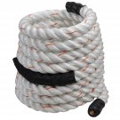 "1.5"" 30Ft Poly Dacron Battle Rope Workout Strength Training Undulation White"