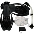 New Panoramic Snorkeling Diving Dry Snorkel Silicone Mask Fins Flippers Bag Gear Set Clear/Black