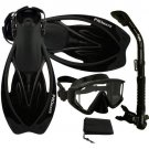 New Panoramic Snorkeling Diving Dry Snorkel Silicone Mask Fins Flippers Bag Gear Set Black/Black