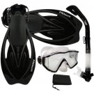 New Panoramic Snorkeling Diving Dry Snorkel Silicone Mask Fins Flippers Bag Gear Set Black
