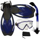 New Panoramic Snorkeling Diving Dry Snorkel Silicone Mask Fins Flippers Bag Gear Set Blue