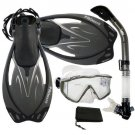 New Panoramic Snorkeling Diving Dry Snorkel Silicone Mask Fins Flippers Bag Gear Set Titanium