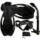 Snorkeling Purge Mask, Dry Snorkel, Fins, Bag Dive Gear Gift Package Set Black