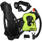 PROMATE Snorkeling Mask Dry Snorkel Fins Gear Set With Snorkel Vest Jacket Black
