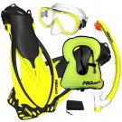 PROMATE Snorkeling Mask Dry Snorkel Fins Gear Set With Snorkel Vest Jacket Yellow