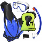 PROMATE Snorkeling Mask Dry Snorkel Fins Gear Set With Snorkel Vest Jacket Blue