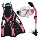 NEW Lady Dive Snorkeling Mask Dry Snorkel Fins Gear Set Pink