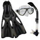 NEW Lady Dive Snorkeling Mask Dry Snorkel Fins Gear Set Titanium