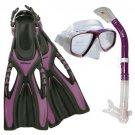 NEW Lady Dive Snorkeling Mask Dry Snorkel Fins Gear Set Purple