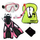 Junior Snorkel Vest Snorkeling Diving Mask Snorkel Fins Youth Child Kid Gear Set Pink