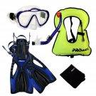 Junior Snorkel Vest Snorkeling Diving Mask Snorkel Fins Youth Child Kid Gear Set Blue