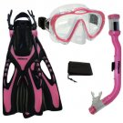 PROMATE Junior Boy Girl Snorkeling Scuba Diving Mask DRY Snorkel Fins Gear Set Pink