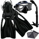 Panoramic Purge Dive Mask Dry Snorkel Fins Gear Bag Set
