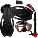 Promate Fish Eyes Mask Dry Snorkel Fins Diving Gear Set Red With Black