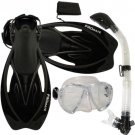 Promate Fish Eyes Mask Dry Snorkel Fins Diving Gear Set Clear with Black Fin