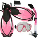 Promate Fish Eyes Mask Dry Snorkel Fins Diving Gear Set Clear with Black Fin Pink