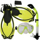 Promate Fish Eyes Mask Dry Snorkel Fins Diving Gear Set Clear with Black Fin Yellow