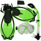 Promate Fish Eyes Mask Dry Snorkel Fins Diving Gear Set Clear with Black Fin Green