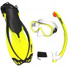 PROMATE Snorkeling Mask Fins Dry Snorkel Mesh Bag Dive Gear Set Package Gift Yellow