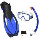PROMATE Snorkeling Mask Fins Dry Snorkel Mesh Bag Dive Gear Set Package Gift Blue