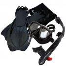 Snorkeling Dive Mask Goggle Dry Snorkel Fins Flippers Bag Sports Gear Set Black