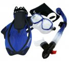 Snorkeling Dive Mask Goggle Dry Snorkel Fins Flippers Bag Sports Gear Set Blue