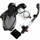 Snorkeling Dive Mask Goggle Dry Snorkel Fins Flippers Bag Sports Gear Set Titanium
