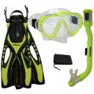 PROMATE Junior Snorkeling Scuba Diving Mask Snorkel Fins Mesh Bag Gear Set Yellow