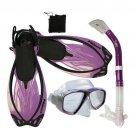 Snorkeling Diving Mask Snorkel Fins Bag Gear Travel Set Purple
