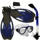 NEW Snorkeling Purge Mask Dry Snorkel Fins Dive Gear Bag Package Set Blue